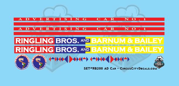 Ringling Bros. & Barnum Bailey RBBB Circus Advertising Car #1 Decals HO