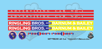 Ringling Bros. & Barnum Bailey RBBB Circus Advertising Car #1 Decals HO