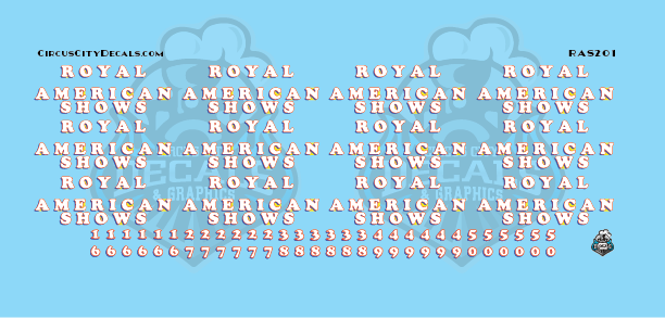 Royal American Shows Wagon Decals HO Scale
