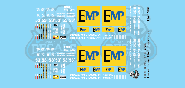 EMP 53' Container Large Logo S Scale Decal Set