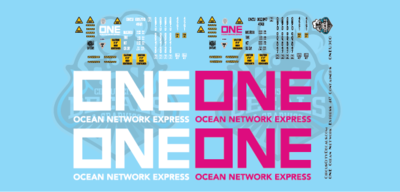 ONE Ocean Network Express 40' Intermodal Container Pink & White O Scale 1:48