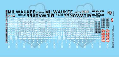 Milwaukee Road Locomotive MILW HO Scale Decal Set