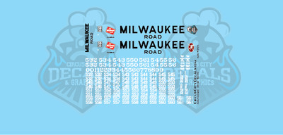 Milwaukee Road SD10 MILW HO Scale Decal Set