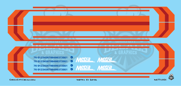 Metra METX BiLevel N Scale Decal Set