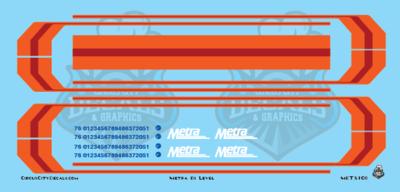 Metra METX BiLevel N Scale Decal Set
