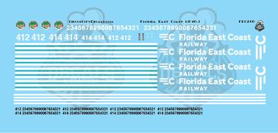 Florida East Coast FEC GP40-2 GP40-3 HO Scale Decal Set