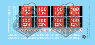 CN Canadian National ES44 100 Years HO Scale Decal Set Intermountain