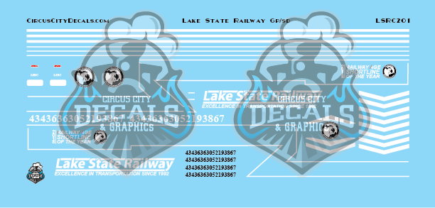 Lake State Railway GP/SD Locomotive Decals HO Scale