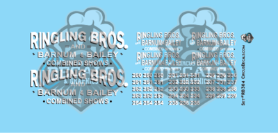 Ringling Bros. & Barnum Bailey Circus RBBB Truck Decals O Scale