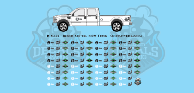 Illinois Central Vehicle MOW Door Logos S Scale Decals