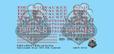 Milwaukee Road Rib Side Caboose HO Scale Decal Set