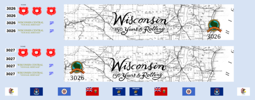 Wisconsin Central Map & Flag Units 3026 3027 WC CN