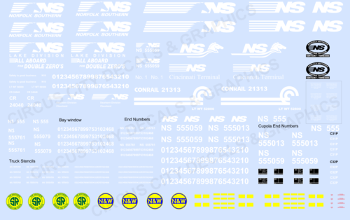 Norfolk Southern Caboose Decal Set N Scale