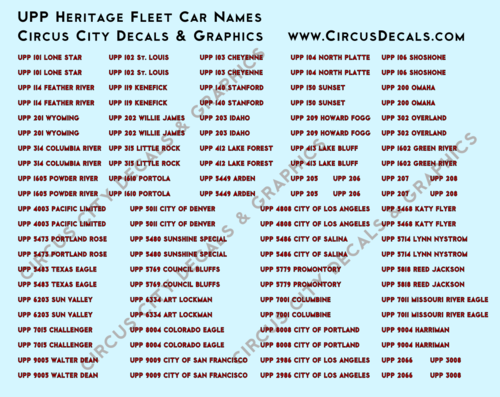 Union Pacific Heritage Fleet Car Names HO Scale Decals UP UPRR