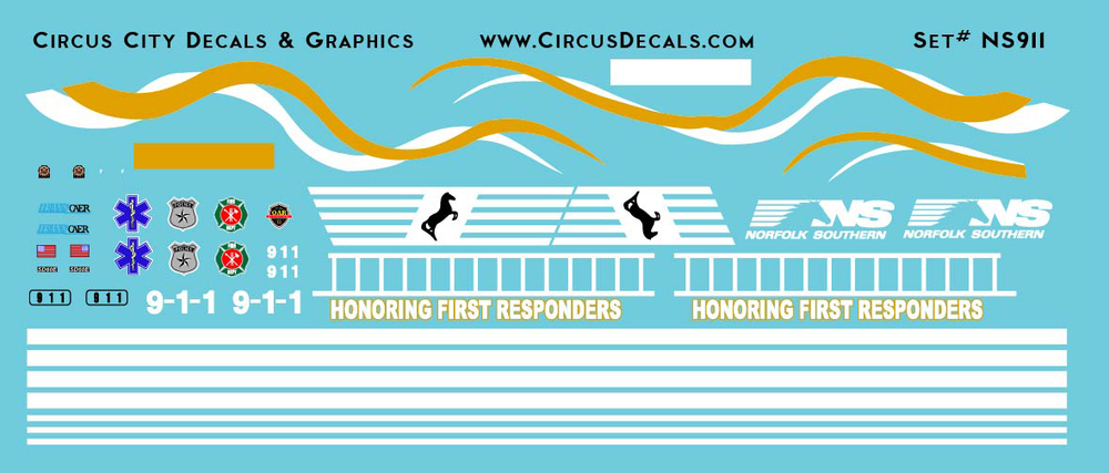 Norfolk Southern First Responders Unit 9-1-1 SD60E Decals N Scale NS