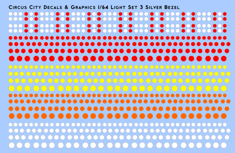 Vehicle Light Set 3 with Silver Bezels 1/64 Scale