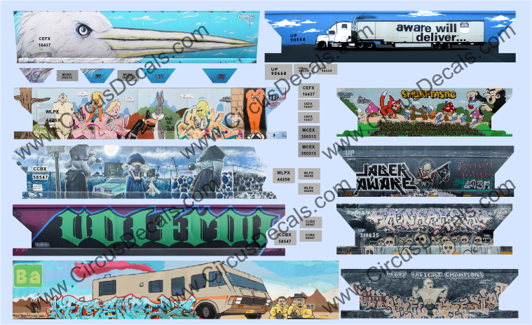 Full Carside Graffiti Decal Set N Scale Loony Tunes, Breaking Bad, Aware