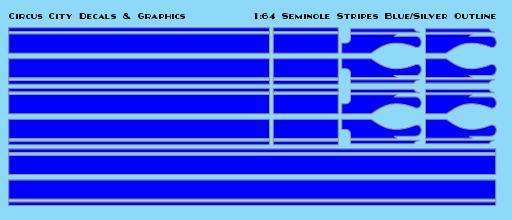 Seminole Stripe Blue/Silver Outline 1:64 Scale