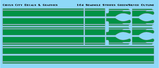 Seminole Stripe Green/Silver Outline 1:64 Scale