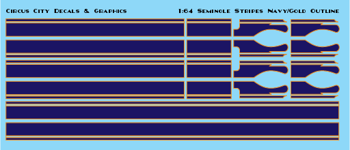 Seminole Stripe Navy/Gold Outline 1:64 Scale