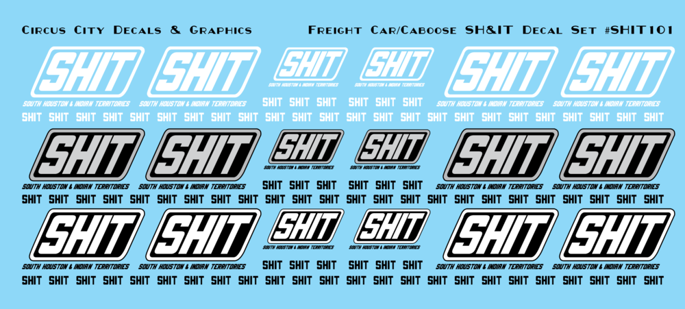 South Houston & Indian Territories SHIT Railroad Freight Car Decal Set N Scale