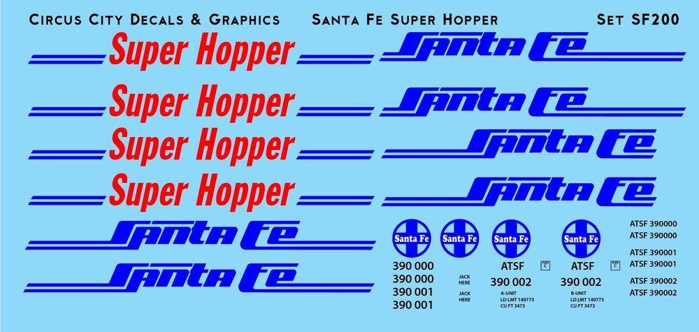 Santa Fe Super Hopper Decal Set HO Scale
