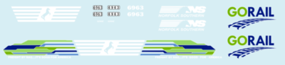 Norfolk Southern GO Rail Unit 6963 SD60E Decals HO Scale NS