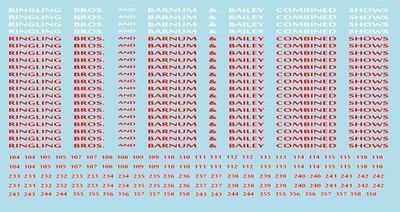 RB109 Ringling Bros. RBBB Circus Decals N Scale Flats & Stock Cars Ringling Brothers
