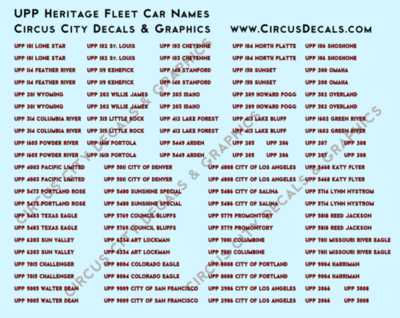 Union Pacific Heritage Fleet Car Names N Scale Decals UP UPRR