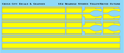 Seminole Stripe Yellow/Silver Outline 1:64 Scale