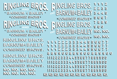 RB203 Ringling Bros. & Barnum Bailey Circus RBBB Wagon Decals HO Scale