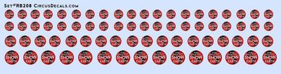 RB208 Ringling Bros. & Barnum Bailey RBBB Circus Globe Decals HO Scale