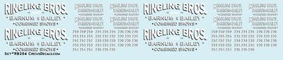 RB204 Ringling Bros. & Barnum Bailey Circus RBBB Truck Decals HO Scale
