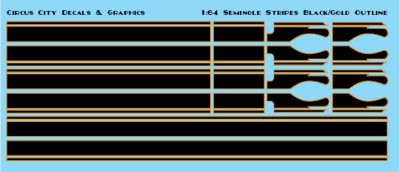 Seminole Stripe Black/Gold Outline 1:64 Scale
