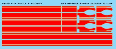 Seminole Stripe Red/Gold Outline 1:64 Scale