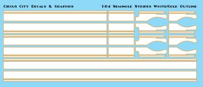 Seminole Stripe White/Gold Outline 1:64 Scale