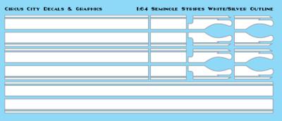 Seminole Stripe White/Silver Outline 1:64 Scale