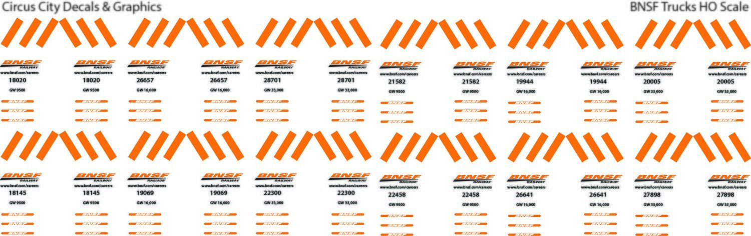 BNSF Truck Decals HO Scale