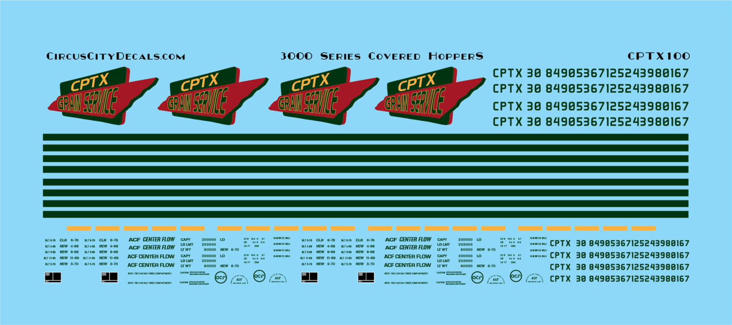 Co-Operative Railroad Covered Hopper Grain Service Decal Set N Scale
