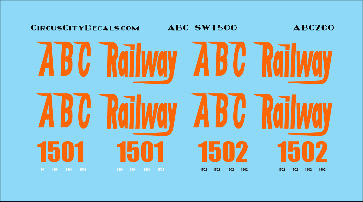 ABC Railway SW1500 1501 1502 HO Scale Decal Set