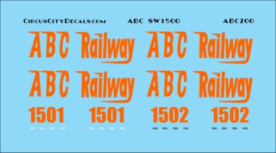 ABC Railway SW1500 1501 1502 HO Scale Decal Set