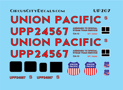 Union Pacific Steam Caboose UPP 24567 G Scale Decals
