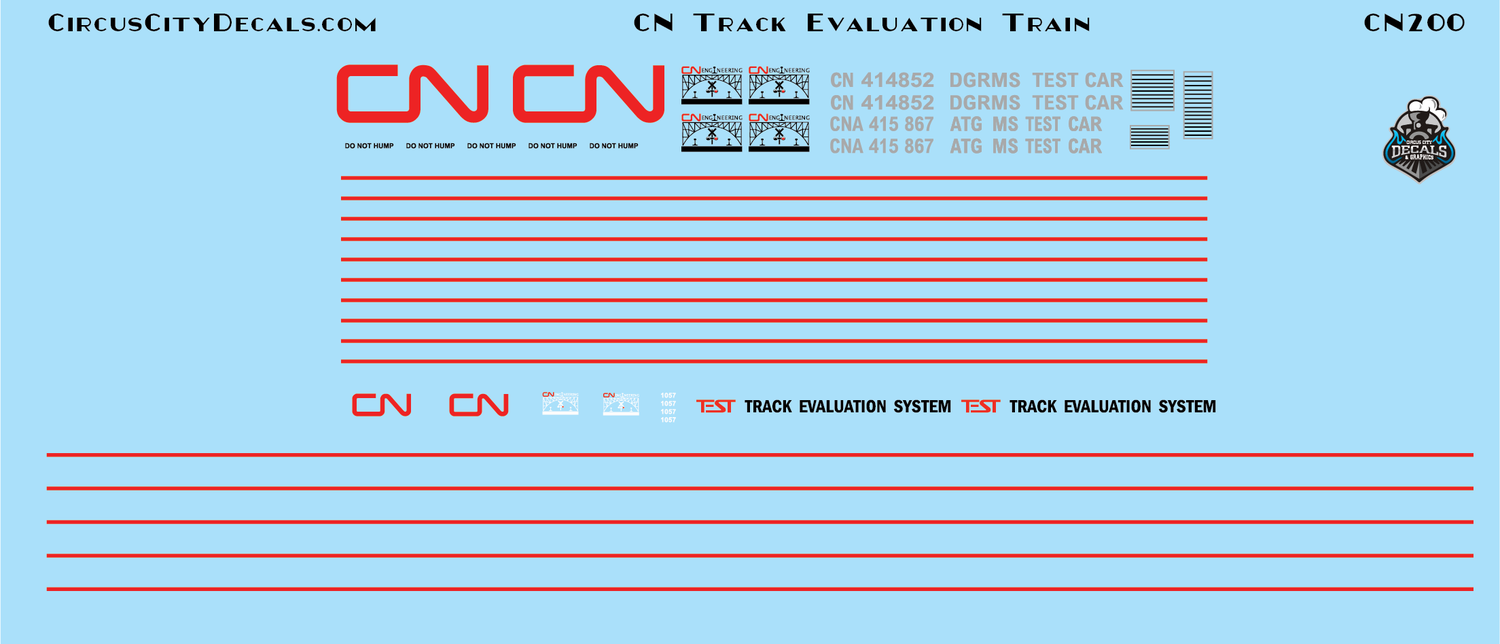 CN Canadian National Track Evaluation Train HO Scale Decal Set