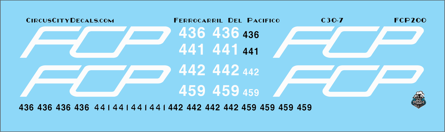 FCP C30-7 Ferrocarril Del Pacifico HO scale Decal Set