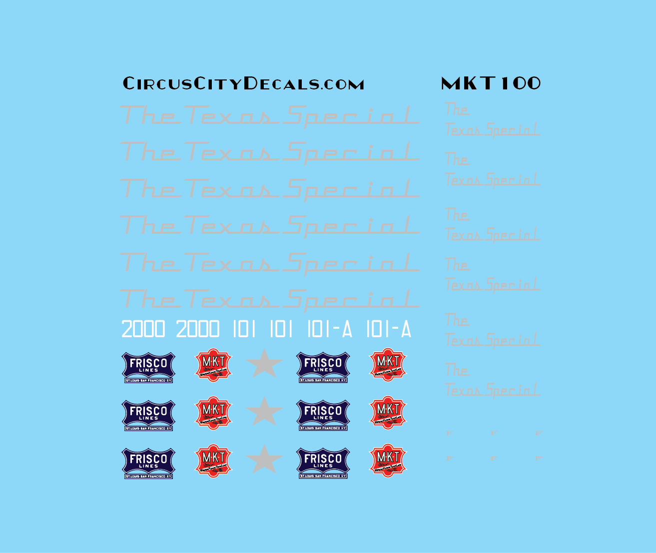 The Texas Special MKT KATY Frisco E7 2000 101 101A N Scale Decal Set
