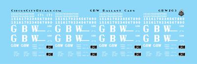 Green Bay & Western Ballast Car Decals HO Scale