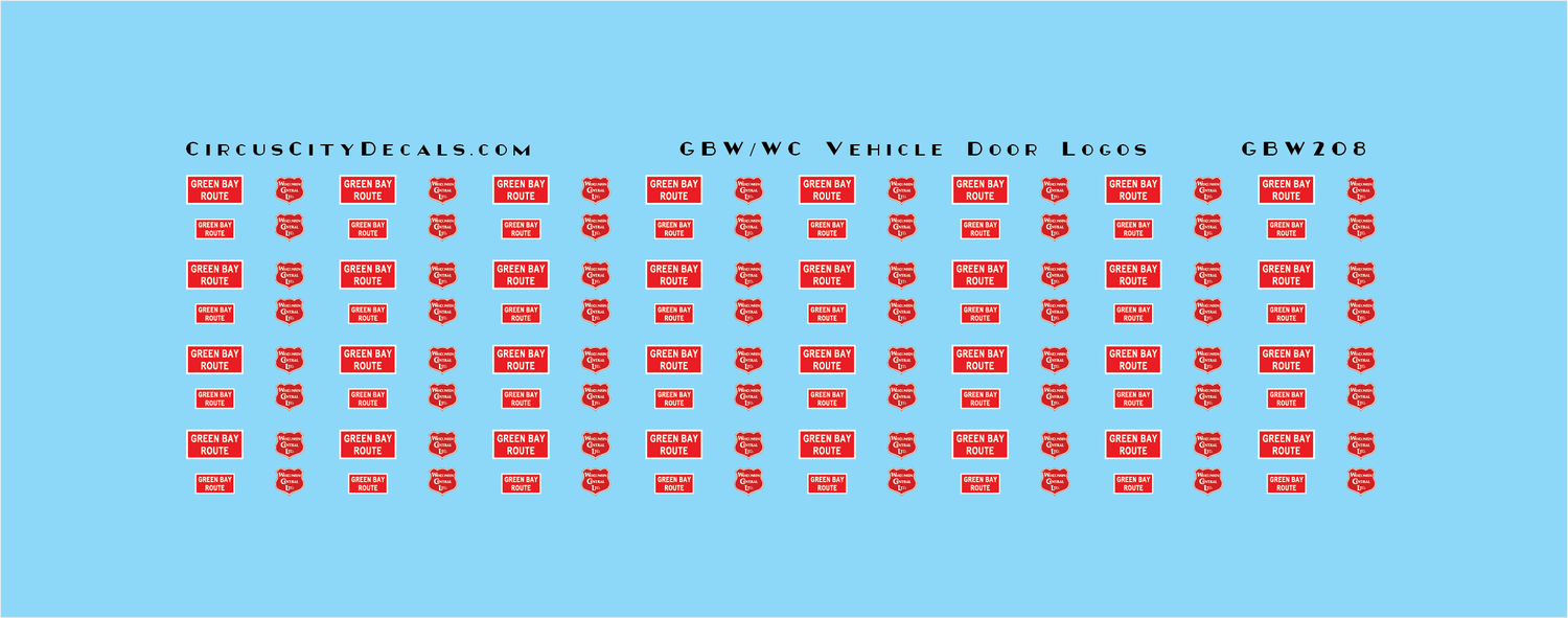 Green Bay & Western Wisconsin Central GBW WC Vehicle Decals HO Scale