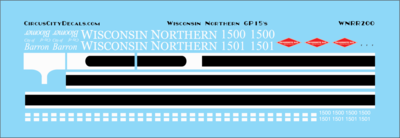 Wisconsin Northern GP15 Decal Set HO Scale