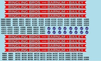 Ringling Bros. RBBB Circus Decals N Scale Coaches & Flats Blue Unit