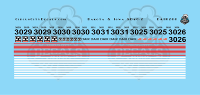 Dakota & Iowa Railroad SD40-2 DAIR Decal Set HO Scale